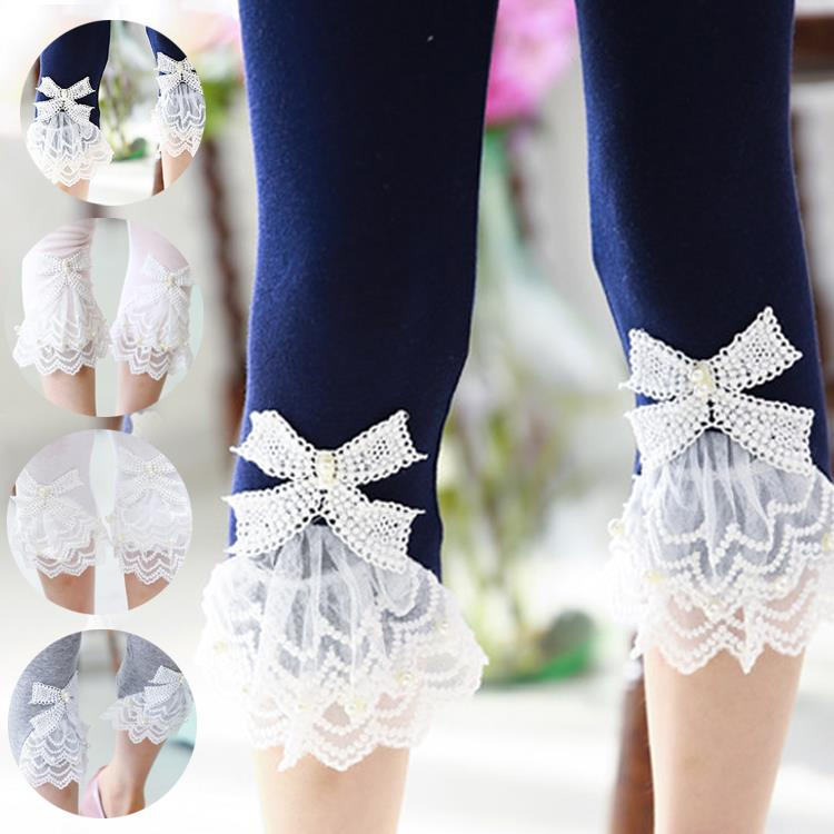 Girls Leggings 2016 Summer Style Children's Clothing Calf-length Baby Mesh Spliced Bow Lace Leggings Kid's Pants Size 100-150 mesh panel leggings