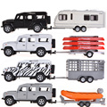 Collectible Alloy Diecast Car Model 1/31 Range Rover Defender Trailer With Pull Back Cars Model Kids Toys Gifts
