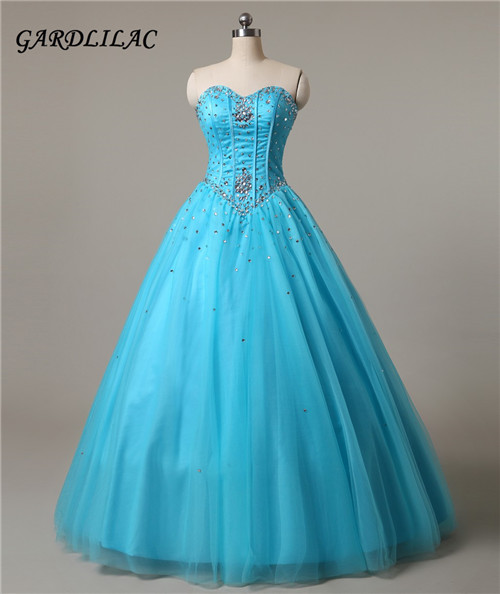 Robes de Soirée Bleu Quinceanera Robes 2017 Sweetheart Organza Quinceanera Robes Perles Sur Mesure