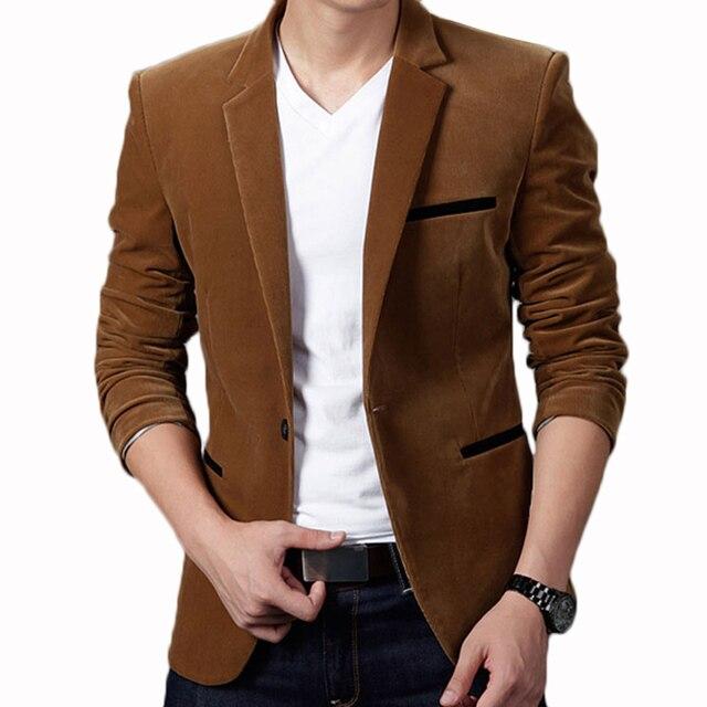 462c42a4776 2018 Mens Blazer Brand Clothing Casual Suit Slim Jacket Single Button  Corduroy Blazer Men Dress Suits