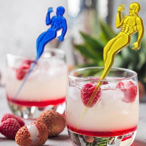 50 Pcs Homem Metrosexual Cocktail Muddler Puddler Swizzle Varas Bebida Agitador Vinho Wine Coffee Tea Bar Ktv Partido Home Decoração