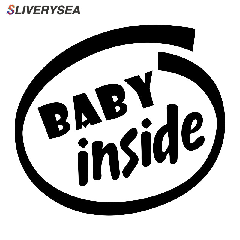 SLIVERYSEA Baby Inside Baby On Board Funny Words Car Sticker for Car Body Kid Infant Rear windshield Vinyl Decal Black/Silver-in Car Stickers from Automobiles & Motorcycles