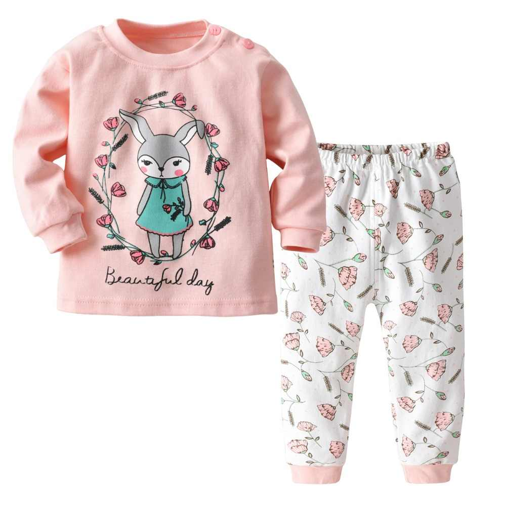 Cotton Print Toddler Pajamas for Girls Boys 2019 New Baby Spring Casual  Long Sleeve Combinaison Pyjamas d8fe7e693