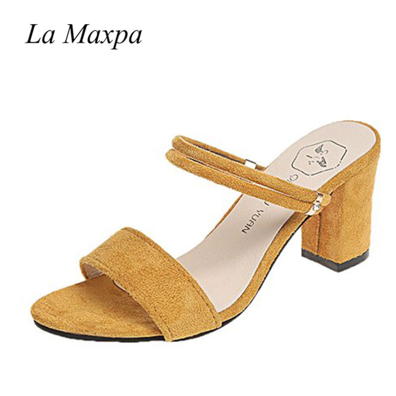 Summer Elegant Ladies Shoes Casual Thick Med Heels Women Sandals Ankle Strap Open Toe Flock Yellow Sandals 8cm Sandalias Mujer loslandifen new ankle strap women sandals casual patent leather red high heels shoes open toe lady summer sandal mujer sandalias