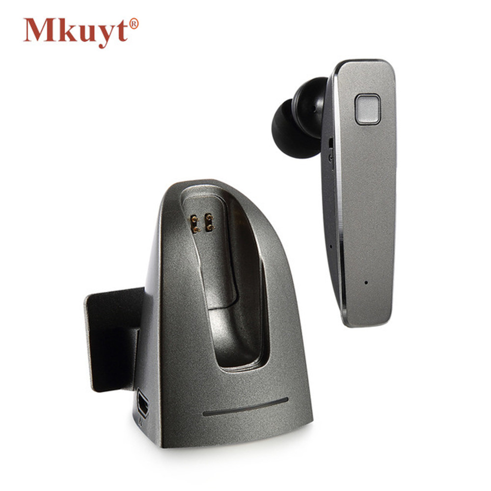 MKUYT R6100 Car Bluetooth Headset Wireless Stereo earphone with Bluetooth V4.0 and 4 Languages Headphone for Phones