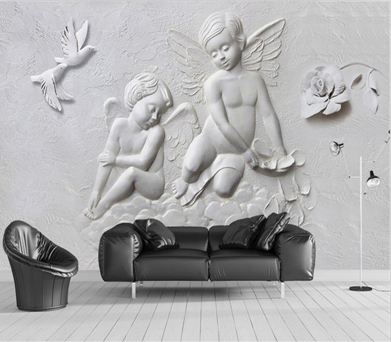 Custom Modern 3D Photo Wallpaper Murals 3D Three-dimensional Relief Angel Flying Mural for Living room Bedroom Hotel Lobby Decor large painting home decor relief green flowers hotel background modern mural for living room murales de pared 3d wallpaper