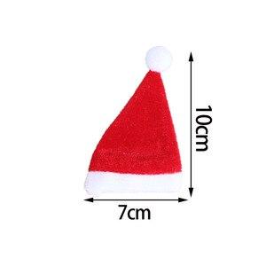 Image 5 - 10 Stks/set Mini Kerst Hoed Santa Claus Hoed Xmas Apple Wijnfles Caps Kerstcadeau Caps Voor Nieuwjaar Boom ornament Decor