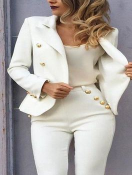 White Women Ladies Cotton Blend Fabric Business Office Tuxedos Work Wear Suits Custom Bespoke New 100% Suits B03