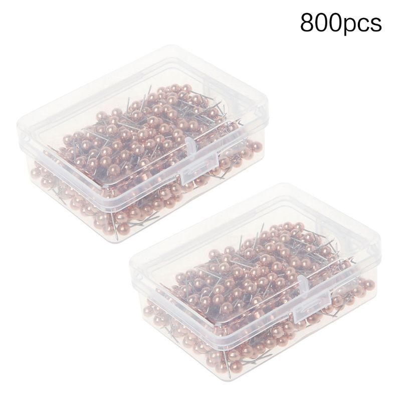 800 Pieces Map Tacks Push Pins Round Plastic Head With Stainless Steel Point, 0.16 Inch Head (Silver/Gold/Rose Gold/Black Gold/W