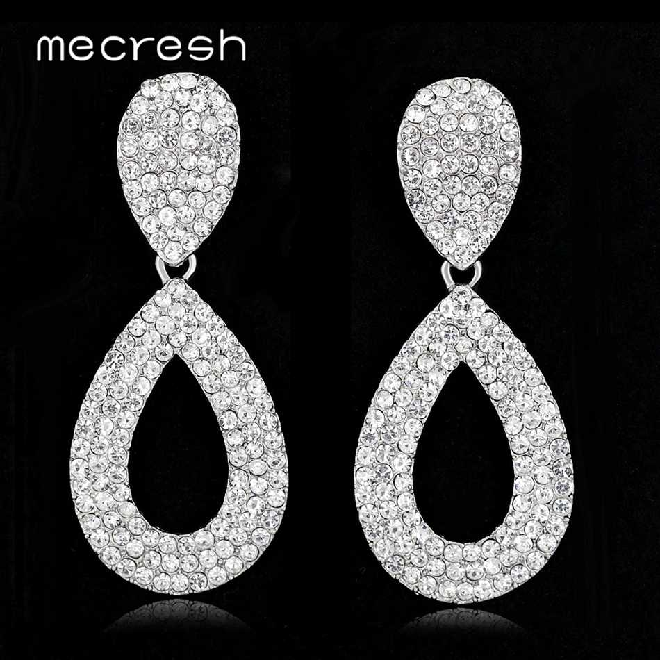 Mecresh Minimalist Rhinestone Drop Earrings Wedding Engagement Jewelry Hollow Teardrop Bridal Dangle Earrings for Women MEH1513