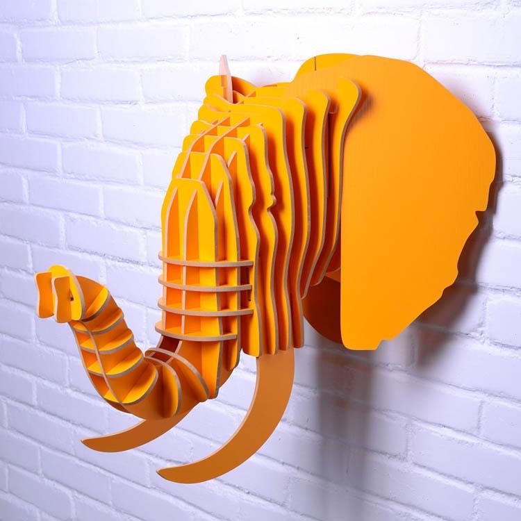 divar dekorasiyası üçün fil başı, taxta fil bəzək, oyma - Ev dekoru - Fotoqrafiya 4