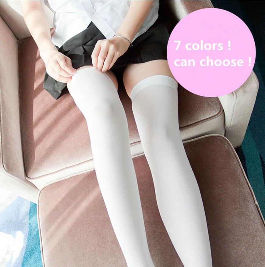 Anime Cosplay Costume Stockings Thigh high Japanese Student Skidproof Socks Velvet White Silk 7 colors