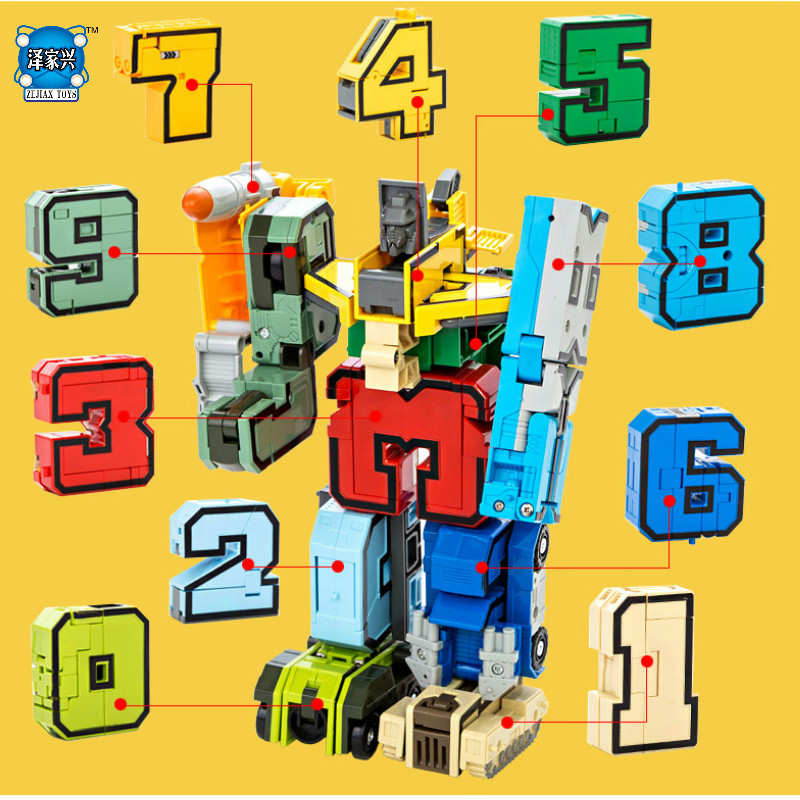 Creative Assembling Educational Articles Preschool Transform Number Robots Deform Plane & Car Birthday Christmas Gifts Kids Toys 6 in 1 solar toy diy robots plane educational kid gift creative