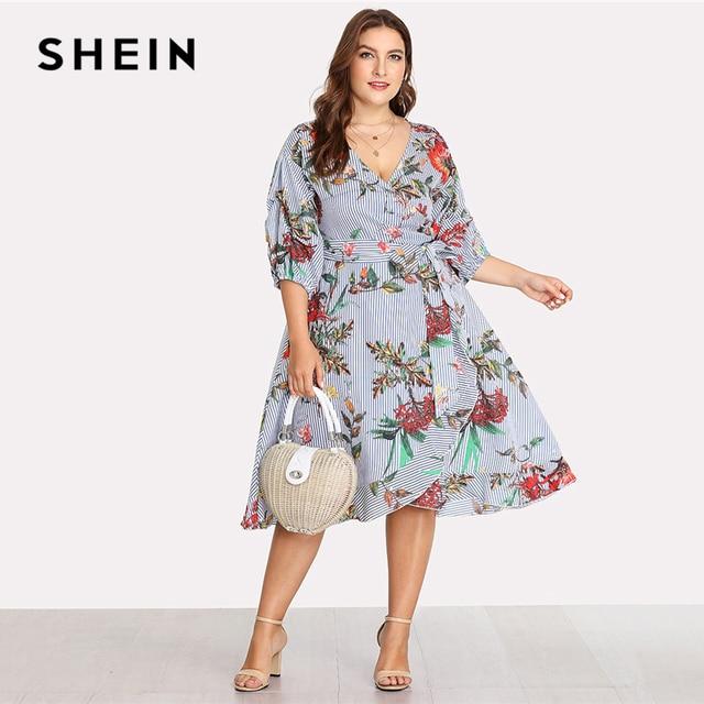 81ba749a2c6729 SHEIN Surplice Wrap Floral   Striped Dress 2018 Summer Deep V Neck Bishop  Sleeve Floral Print Dress Women Plus Size Beach Dress