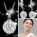 Hot sale promotion 2016 new fashion shiny Shambhala 925 sterling silver ladies`stud earrings/necklaces jewelry sets gift