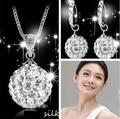 Promoción de venta caliente 2016 nueva moda brillante Shambhala 925 'de las señoras de plata de ley pendientes/collares sistemas de la joyería de regalo