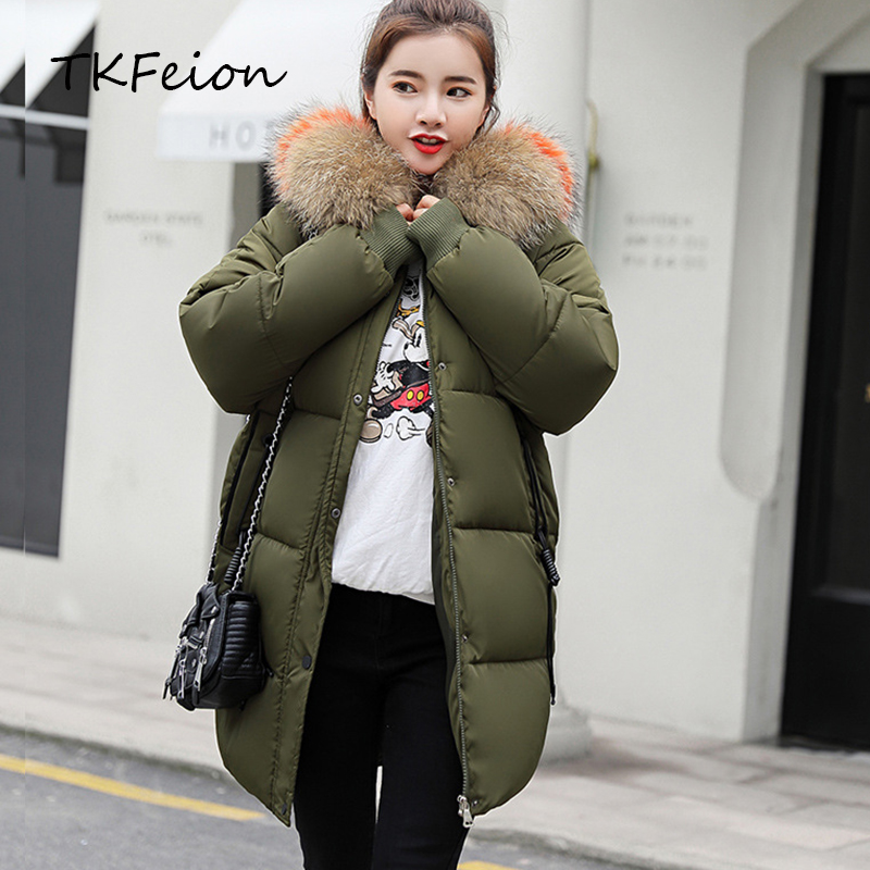 Women Winter Jackets Warm Cotton Padded Clothes 2019 Autumn Spring Female Long Coats Thick Overcoat Fur Hat Ladies Hooded   Parka