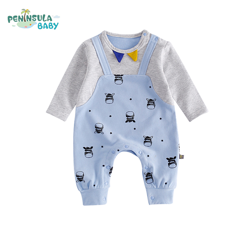 Autumn Fashion Infant Baby Coverall Cotton Long Sleeve Kids Pullover Cartoon Cows Printed Newborn Children Boys Girls Clothing