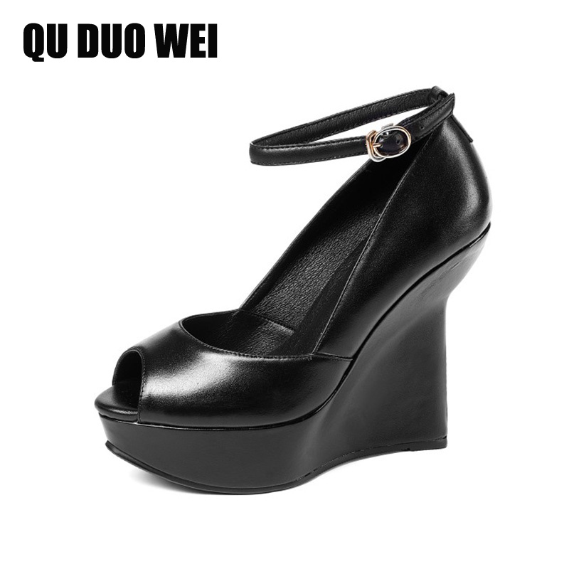 Cow Genuine Leather Women Pumps Shoes 2018 Spring Summer Peep Toe Women Wedges Shoes Black Ankle Strap Platform Lady High Heels free shipping 100%real picture women shoes wedges high heels platform luxury ethnic diamond genuine leather peep toe sandals