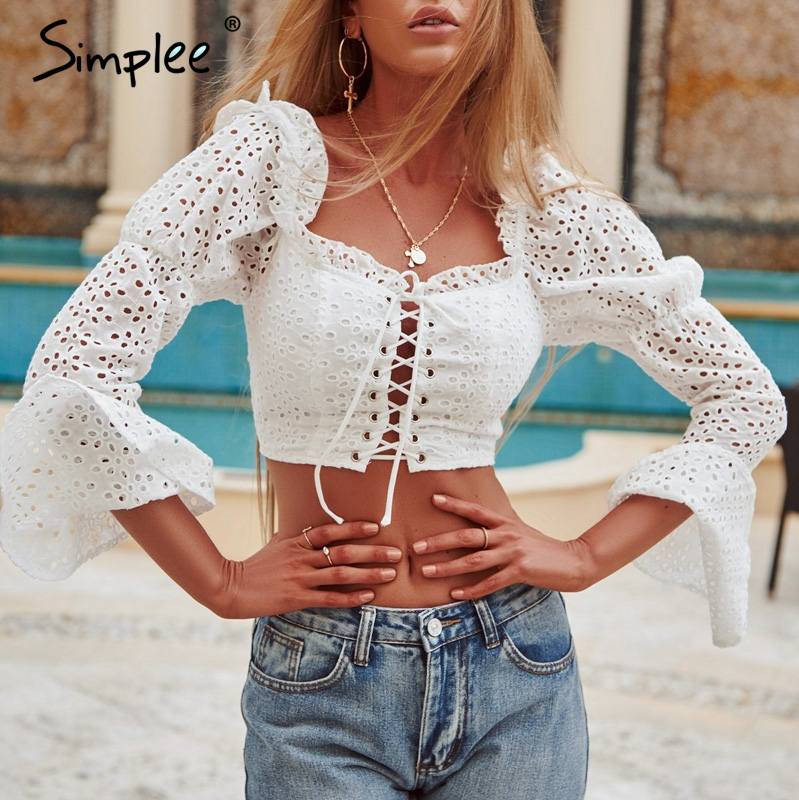 Simplee Hollow out women   blouse     shirt   Flare sleeve female crop top   shirt   Sexy lace up backless female   shirts   elegant streetwear
