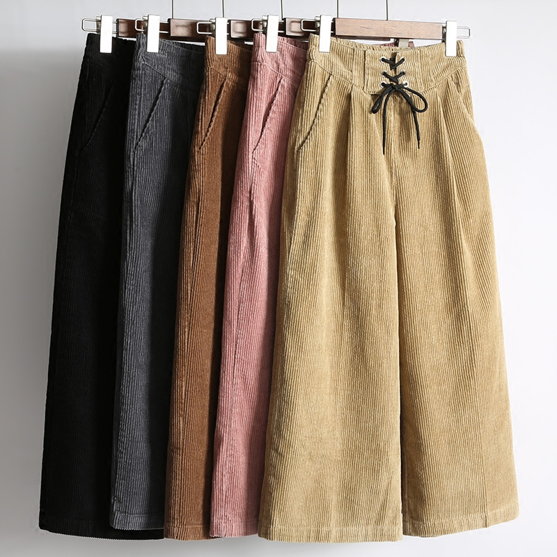 New Fashion High Waist Loose   Wide     Leg     Pants   Women Autumn Winter Corduroy Cropped Trousers Casual Ankle-Length   Pants