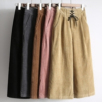 New Fashion High Waist Loose Wide Leg Pants Women Autumn Winter Corduroy Cropped Trousers Casual Ankle