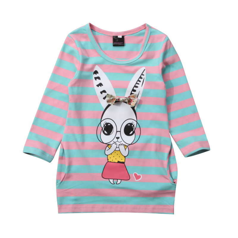 Cute Toddler Baby Girls T-shirt 2017 New Fashion Stripe Kid Autumn Clothes Long Sleeve Party Rabbit Top T-Shirt Dress