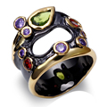 DC1989 Unique Fashionable Multi Colors Cubic Zirconia Finger Rings For Women Hollow Center Black &  Gold Plated Lead Free