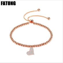 925 sterling silver rose gold heart shaped bead bracelet woman and girl gift J0202