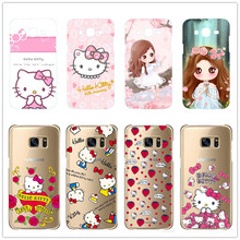 Cartoon The Little girl Hello Kitty hard plastic cover  For Samsung Galaxy S3 Mini S6 Edge  S7Edge Note 2 3 4 5