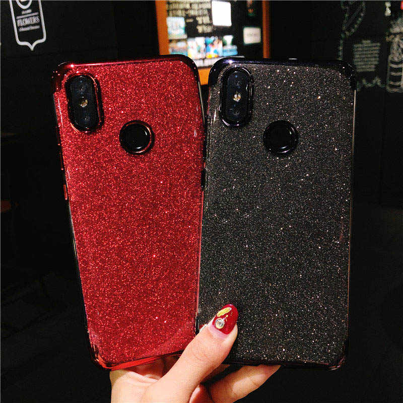 Hot ! ! ! Luxury Glitter 2 IN 1 TPU Phone Case For XiaoMi 8 Lite A2 A1 5X 6X RedMi S2 Note 6 Pro Cover Silicone Bling Soft Cases