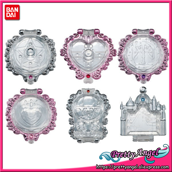 PrettyAngel - Original Original Bandai Sailor Moon Moon Crystal Spegel Gashapon Set med 6 PCS