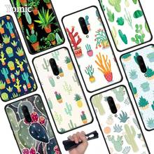 Green Cactus flower Black Soft Case for Oneplus 7 Pro 7 6T 6 Silicone TPU Phone Cases Cover Coque Shell