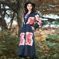 Retro Chinese Print Style New Design Autumn Winter X-long Coat Women Trench Oversized Fashion Lapel Clothing
