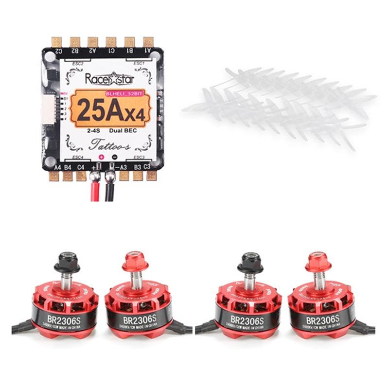 Racerstar RS2306 2400KV 2-4S Motor & Tatto_S 25A Blheli_32 Dshot1200 ESC & 10X 5040 4-Blade Propeller for Camera Drones Frame