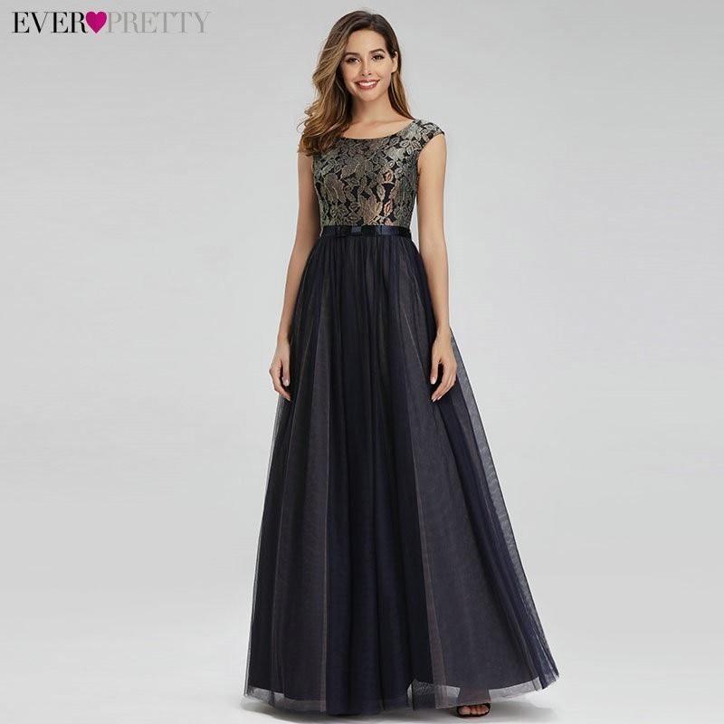 Elegant Long Prom Dresses Ever Pretty Black A Line O Neck Sleeveless Lace Formal Party Gowns For Wedding Vestido De Festa Longo