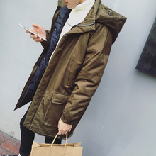 2017 New Arrival Winter Fashion  Embroidery Thicken Hooded Solid Color Zipper Besom Pocket Parkas Long Coat