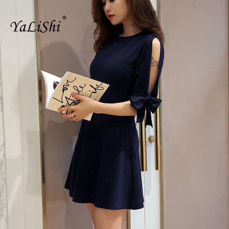 e6f653bf936 YaLiShi 2017 Осень женское платье темно-синее с круглым вырезом с коротким  рукавом мини-