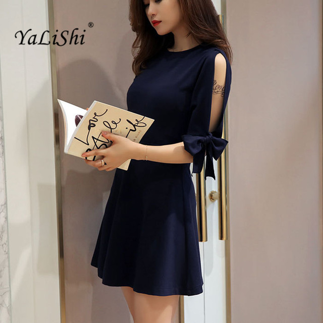 c1247b10806 YaLiShi 2017 Autumn Women Dress Navy Blue O-Neck Half Sleeve Mini Aline Dresses  Sexy Bandage Bow Party Dress Vestido De Festa