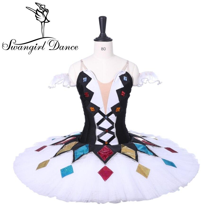 Adulto bianco nero Arlecchino professionale balletto classico pancake tutu Delle Ragazze Prestazioni Costume di Scena Tutu DressBT9050