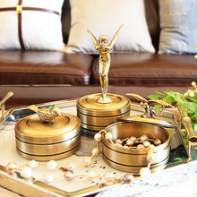 Creative vintage Copper angel Jewelry Box figurines home decor crafts room decoration objects copper birds Storage statue