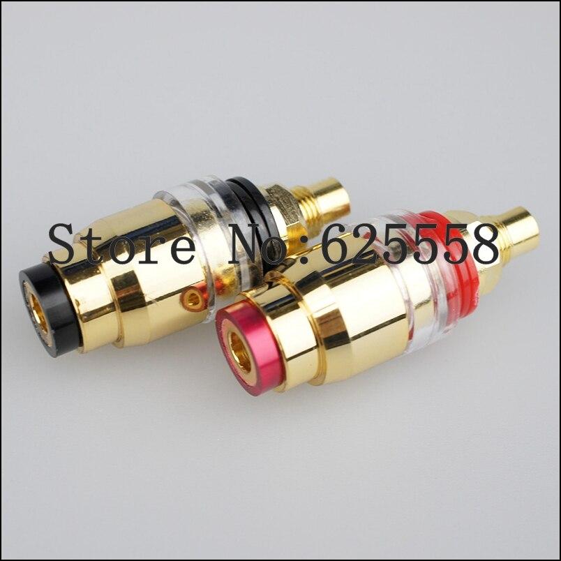 4pcs jack Hi-End Gold plated Amplifier Speaker Terminal Adapter speaker Electrical plug Binding Post
