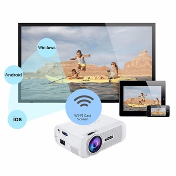 ミニプロジェクターのアップグレードBluetooth WIFI HDMI LCDホームシアタービーマーLED Proyector Android 7.0フルUHD 1080pビデオメディアプレーヤーПроектор