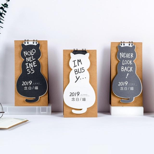 2019 Creative Never Look Back Desk Calendar DIY Cute Cat ...