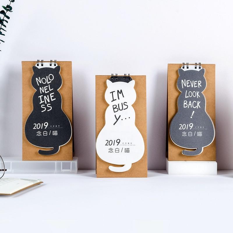 Kalender 2019 Kreative Nie Blick Zurück Schreibtisch Kalender Diy Nette Katze Tabelle Kalender Täglichen Zeitplan Planer 2018,09 ~ 2019,12 Kalender, Planer Und Karten