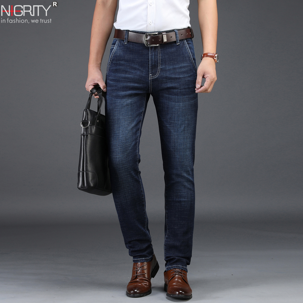 NIGRITY 2019 Men Jeans Business Casual Straight Slim Fit Blue Jeans Stretch Denim Pants Trousers Classic Big Size 29-42