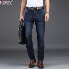 NIGRITY 2019 Men Jeans Business Casual Straight Slim Fit Blue Jeans Stretch Denim Pants Trousers Classic Big Size 29-42(China)