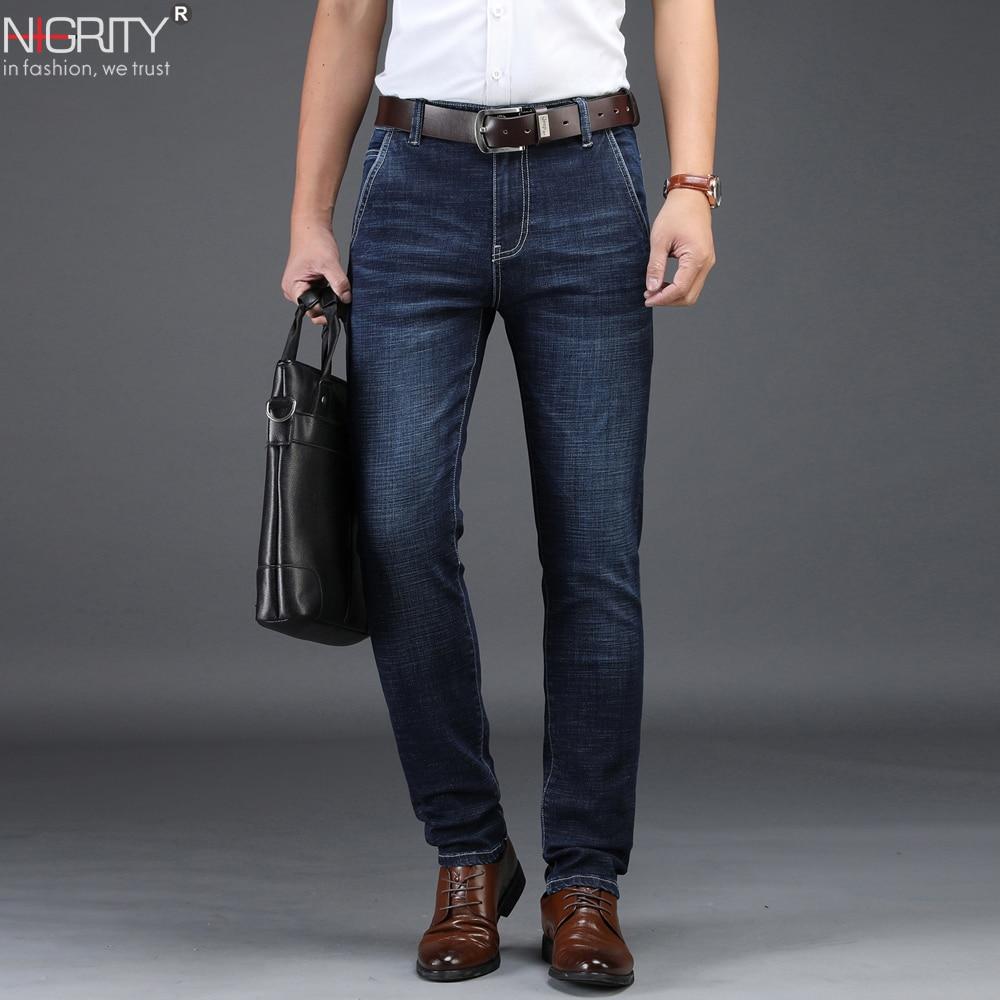 NIGRITY 2019 Men   Jeans   Business Casual Straight Slim Fit Blue   Jeans   Stretch Denim Pants Trousers Classic Big Size 29-42