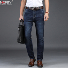 NIGRITY 2019 Men Jeans Business Casual Straight Slim Fit Blu