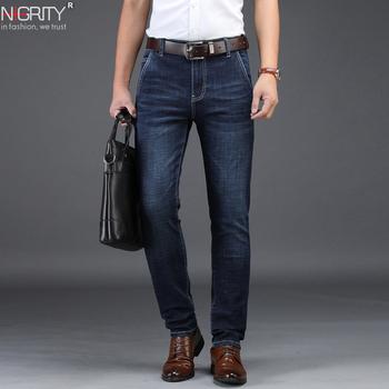 NIGRITY 2019 męskie jeansy Business Casual proste Slim Fit niebieskie dżinsy Stretch spodnie dżinsowe spodnie klasyczne duże rozmiary 29-42 tanie i dobre opinie Zipper fly Moustache Effect Medium Małpa Mycia Smart Casual Midweight Pełnej długości Denim NONE Stałe Jeans 78933